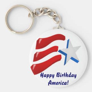 Happy Birthday America! Key Ring