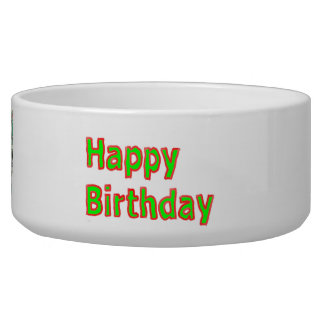 Happy Birthday -  Artistic Text Script Pet Food Bowl