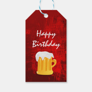 Happy Birthday Beer Mug on Rustic Red Abstract