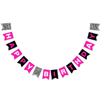 Happy Birthday Black Hot Pink and Black with Zebra Bunting