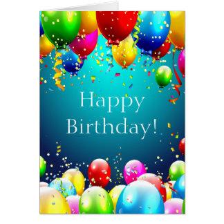 Happy Birthday - Blue Coloured Balloons - Card