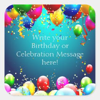Happy Birthday - Blue Coloured Balloons - Square Sticker