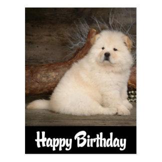 Happy Birthday Chow Chow Puppy Dog Black Postcard