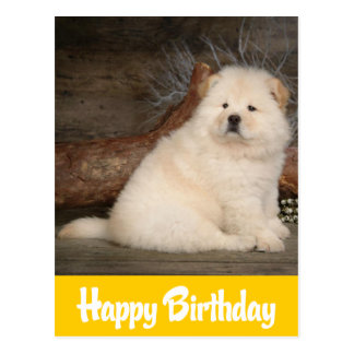 Happy Birthday Chow Chow Puppy Dog Yellow Postcard