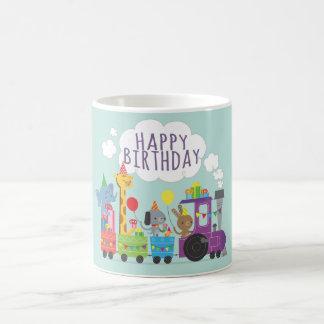 Happy birthday cute zoo animal characters on train coffee mug
