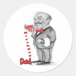 Happy Birthday Dad - waiter Classic Round Sticker
