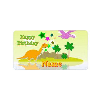 Happy Birthday Dinosaurs Label Stickers Address Label