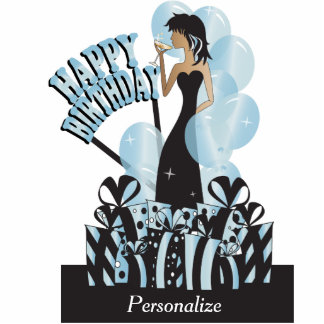 Happy Birthday Diva Party Girl- Aquamarine Cut Outs
