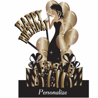 Happy Birthday Diva Party Girl - Bronze Acrylic Cut Outs