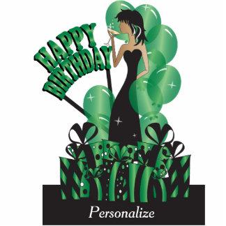 Happy Birthday Diva Party Girl - Green Photo Cutout