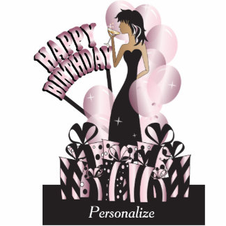 Happy Birthday Diva Party Girl - Pink Acrylic Cut Out
