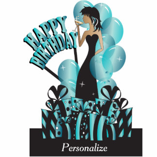 Happy Birthday Diva Party Girl- Turquoise Acrylic Cut Out