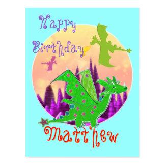 Happy Birthday Dragon Postcard with Name