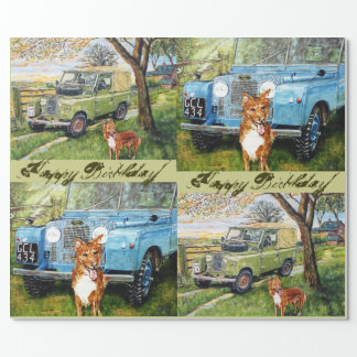 Happy Birthday Farming Theme Wrapping Paper