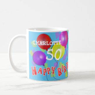Happy Birthday Fun 50th Milestone Personalized Coffee Mug