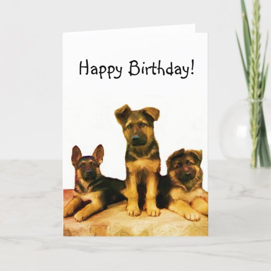 Happy Birthday German Shepherd Puppies Card Zazzle Co Nz