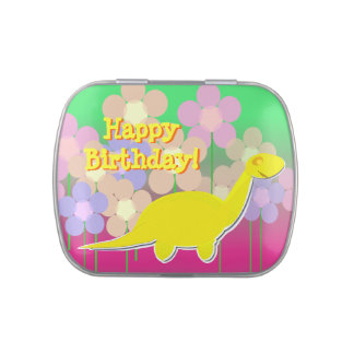Happy Birthday Girly Cute Flowers Dinosaur Jelly Belly Candy Tins