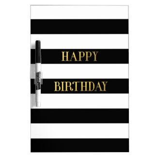 Happy Birthday Gold Dry Erase Board
