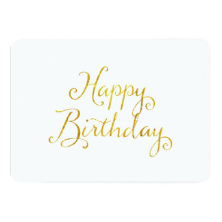 Happy Birthday Gold Faux Glitter Metallic Sequins Card