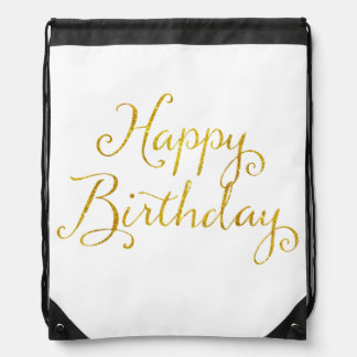 Happy Birthday Gold Faux Glitter Metallic Sequins Drawstring Bag