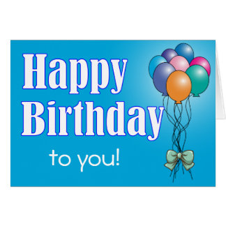 Happy Birthday Greeting Card Balloons Theme