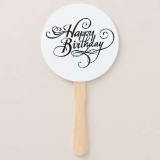 Happy Birthday, Hand Fans, Round, White, Assembled Hand Fan