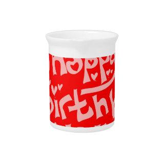 happy birthday handwriting tiled text pitcher