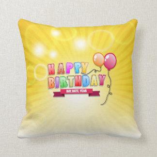 Happy Birthday in bright yellow background Cushion