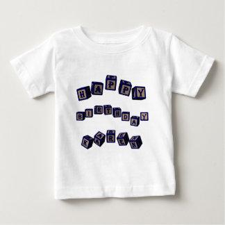 Happy Birthday Karen toy blocks in blue. Baby T-Shirt