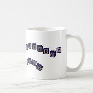 Happy Birthday Margaret toy blocks in blue Coffee Mug