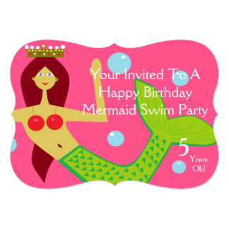 Happy Birthday Mermaid Swim Party 13 Cm X 18 Cm Invitation Card