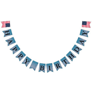 Happy Birthday Message Paisley Blue Bunting