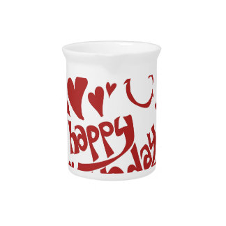 happy birthday message with heart smiling face pitcher