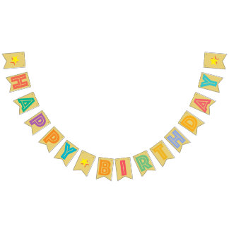 HAPPY BIRTHDAY ☆ MULTICOLORED ON OLD GOLD COLOR BUNTING