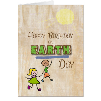 Happy Birthday on Earth Day Stick Kids Word Art Greeting Card