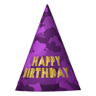 Happy Birthday on Purple Camo Party Hat