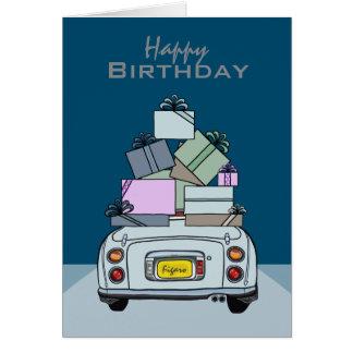 Happy Birthday Pale Aqua Nissan Figaro, Custom Greeting Card