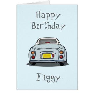 Happy Birthday Pale Aqua Nissan Figaro Greeting Card