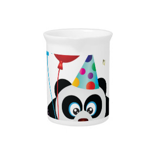 Happy Birthday Panda Bear Illustration Pitcher