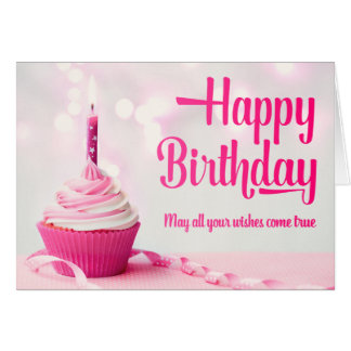 Happy Birthday Pink Cupcake Greeting Card