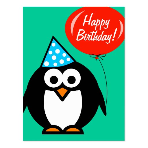 Happy Birthday postcard   penguin with red balloon