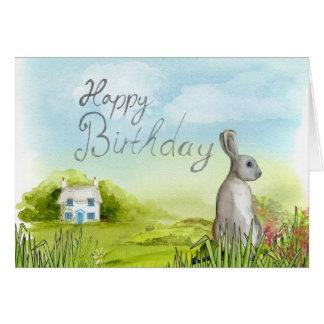 Happy Birthday Rabbit Blank Greeting Card