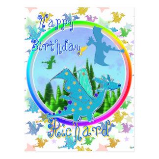 Happy Birthday Richard Cartoon Dragons Postcard