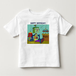 Happy Birthday Robots YOUR NAME & AGE T-Shirt