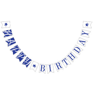 HAPPY BIRTHDAY Royal Blue And White Bunting