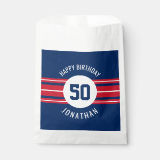 Happy Birthday Sports Jersey Stripes Name and Age Favour Bags