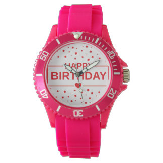 Happy Birthday Sporty Pink Silicon Watch for Women
