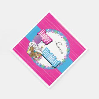 Happy Birthday Squirrel - Pink Disposable Napkins