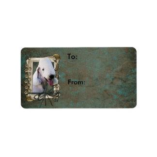 Happy Birthday - Stone Paws - Bedlington Terrier Label