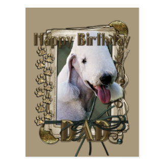 Happy Birthday - Stone Paws - Bedlington Terrier Postcard